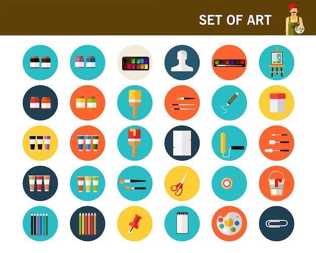Conjunto de ícones plana de conceito de arte.