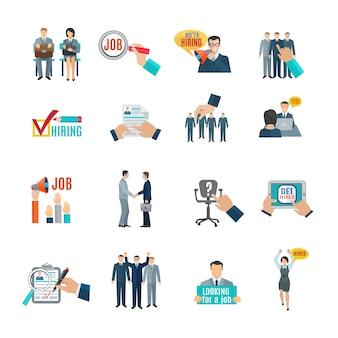 Conjunto de ícones plana de contratação e recrutamento de pessoal