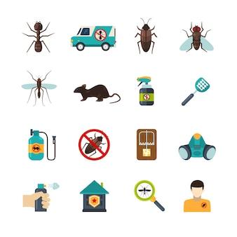 Conjunto de ícones plana de controle de pragas exterminador