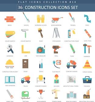 Conjunto de ícones plana de cor de construção