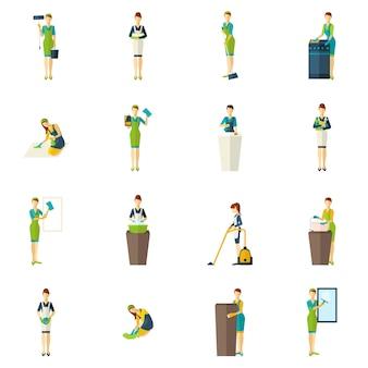 Conjunto de ícones plana de cor de limpeza