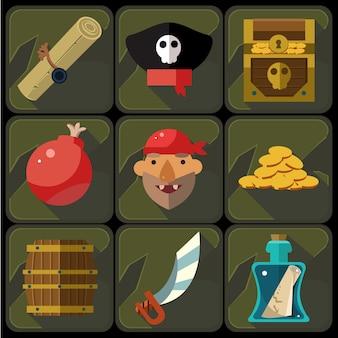 Conjunto de ícones plana de cor e ilustrações de pirata