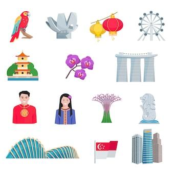 Conjunto de ícones plana de cultura de cingapura