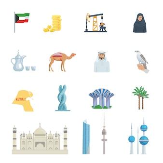 Conjunto de ícones plana de cultura do kuwait com símbolos tradicionais edifícios de trajes e ilustração vetorial de animais