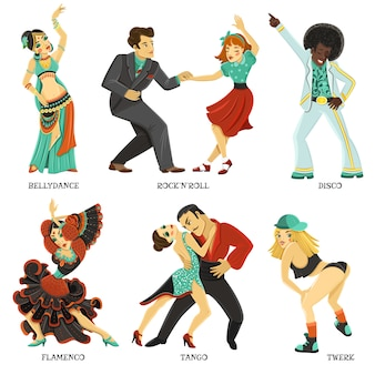 Conjunto de ícones plana de dança nativa popular