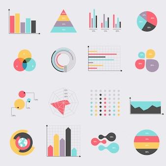 Conjunto de ícones plana de diagramas e gráficos de tabelas