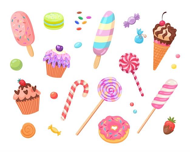 Conjunto de ícones plana de doces e bolos