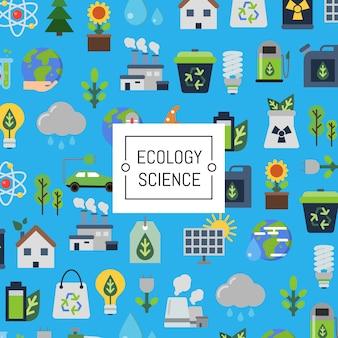 Conjunto de ícones plana de ecologia