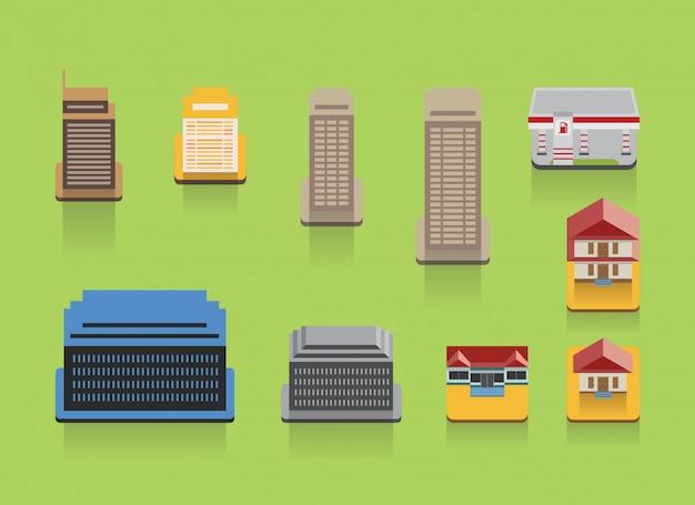 Conjunto de ícones plana de edifício colorido