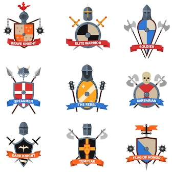 Conjunto de ícones plana de emblemas de cavaleiros medievais