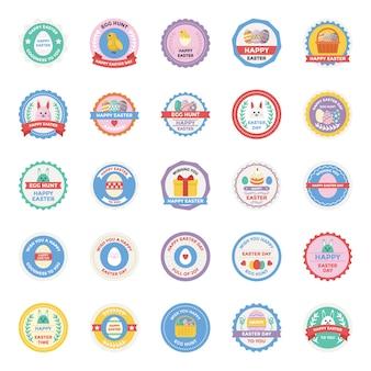 Conjunto de ícones plana de emblemas de dia de páscoa