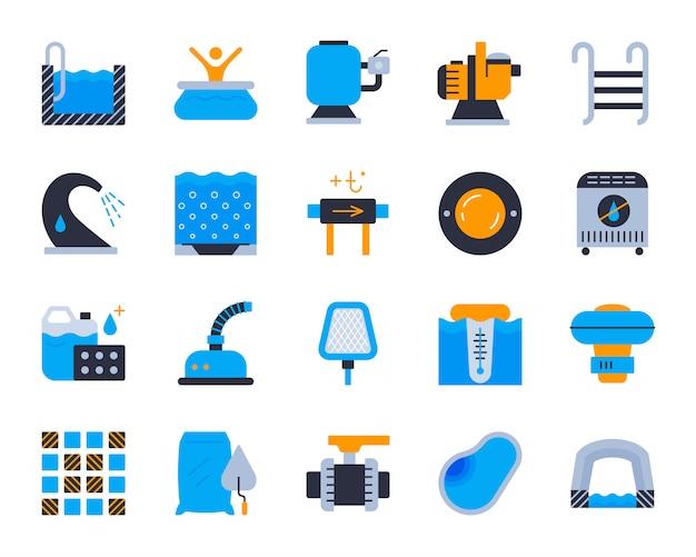 Conjunto de ícones plana de equipamento de piscina, construção, reparação, limpeza de piscina.