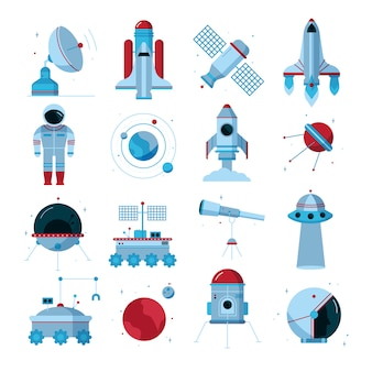 Conjunto de ícones plana de espaço
