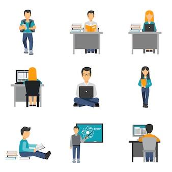 Conjunto de ícones plana de estudante