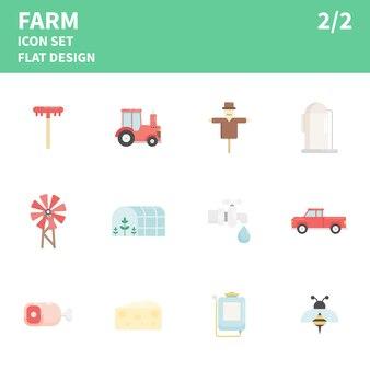 Conjunto de ícones plana de fazenda. ilustração.
