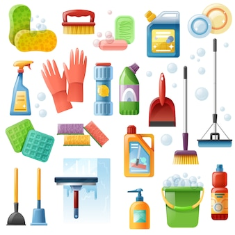 Conjunto de ícones plana de ferramentas de suprimentos de limpeza
