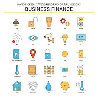 Conjunto de ícones plana de finanças de negócios