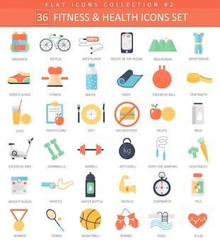 Conjunto de ícones plana de fitness e saúde