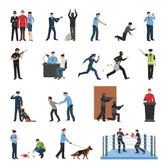 Conjunto de ícones plana de formação de equipe de polícia