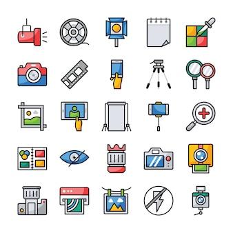 Conjunto de ícones plana de fotografia e gráficos