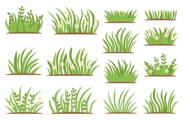 Conjunto de ícones plana de grama verde. isolado no fundo branco, bordas da folha, elementos de flores, fundo da natureza