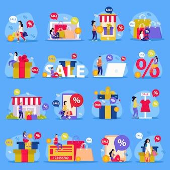Conjunto de ícones plana de grande venda com venda de loja de compras de mulher e ilustração abstrata descrições