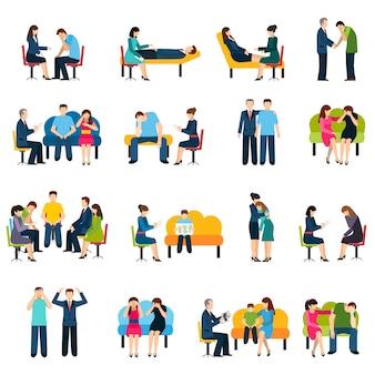 Conjunto de ícones plana de grupo de apoio de aconselhamento