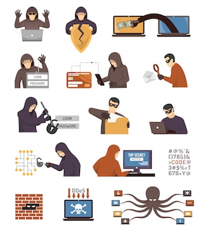 Conjunto de ícones plana de hackers de segurança de internet
