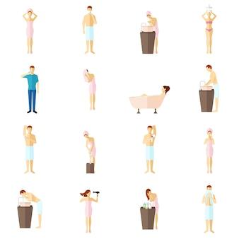 Conjunto de ícones plana de higiene pessoal