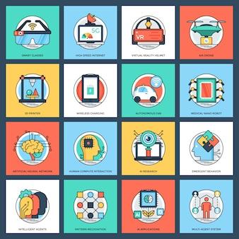 Conjunto de ícones plana de inteligência artificial