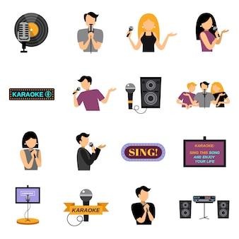 Conjunto de ícones plana de karaoke
