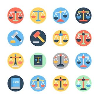 Conjunto de ícones plana de lei