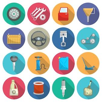 Conjunto de ícones plana de manutenção de serviço de carro