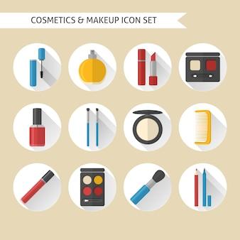 Conjunto de ícones plana de maquiagem e cosméticos