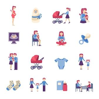 Conjunto de ícones plana de maternidade