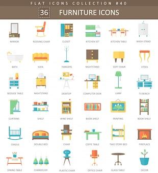 Conjunto de ícones plana de mobília interior