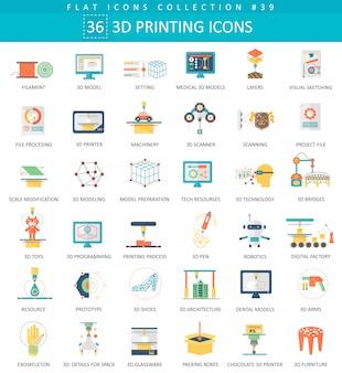 Conjunto de ícones plana de modelagem de impressão 3d