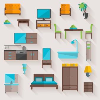 Conjunto de ícones plana de móveis em casa