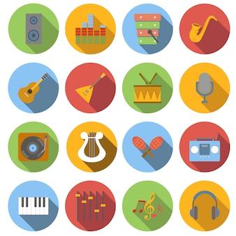 Conjunto de ícones plana de música isolado