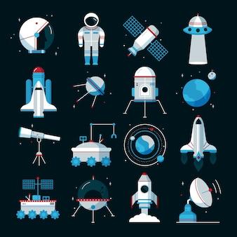 Conjunto de ícones plana de naves espaciais com traje espacial cosmonauta e equipamentos