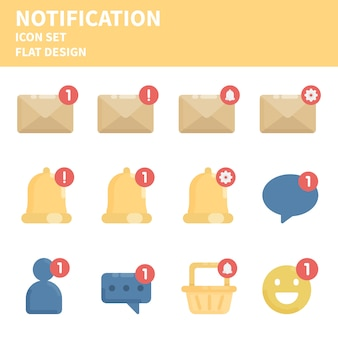 Conjunto de ícones plana de notificação.