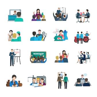 Conjunto de ícones plana de oficina com organização de trabalho em equipe de apresentação de líder de negócios