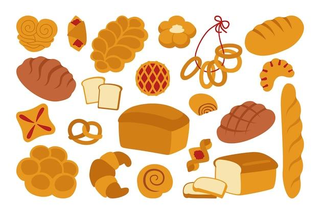 Conjunto de ícones plana de pão. pão simples de grãos inteiros e pão de trigo, pretzel, muffin, croissant, baguete francesa produtos de confeitaria orgânicos, comida de loja