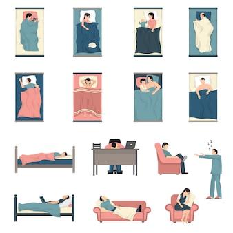 Conjunto de ícones plana de pessoas dormindo