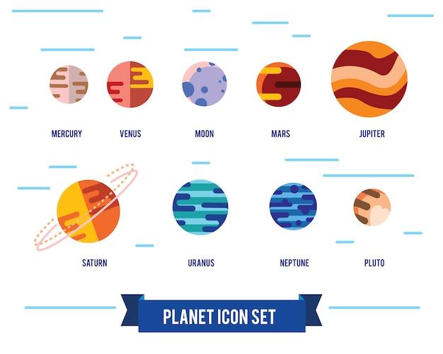 Conjunto de ícones plana de planetas do sistema solar, sol e lua sobre fundo de espaço escuro.