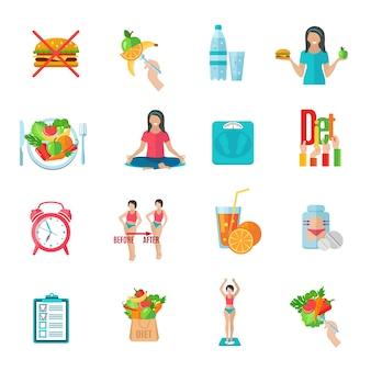 Conjunto de ícones plana de plano de dieta saudável de perda de peso