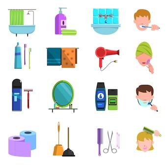 Conjunto de ícones plana de produtos de cuidados pessoais