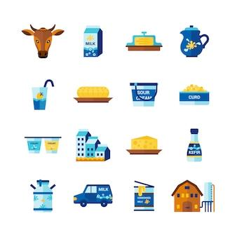 Conjunto de ícones plana de produtos lácteos de leite