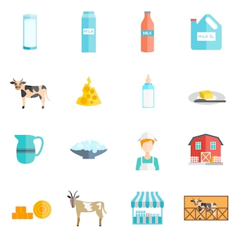 Conjunto de ícones plana de produtos lácteos leite