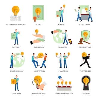 Conjunto de ícones plana de propriedade intelectual